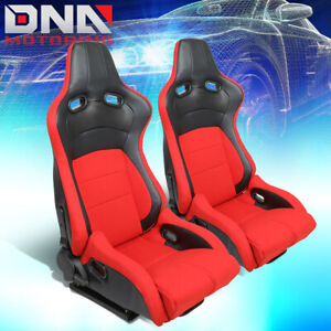 Red Black Reclinable Racing Seats Carbon Look Back Design Driver