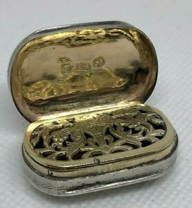 Georgian Sterling Silver Vinaigrette Birmingham John Shaw 1814 Gold Wash