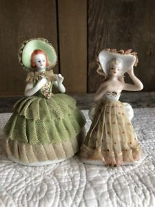 Vintage 2 Porcelain Lace Dress Figurines Green And White Dress Made In Japan