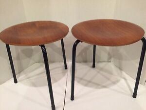Pair Dot Stool Arne Jacobsen Vintage Mid Century Danish Modern Early Version