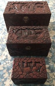 Set Of 3 Antique Hand Carved Wooden Boxes Chest