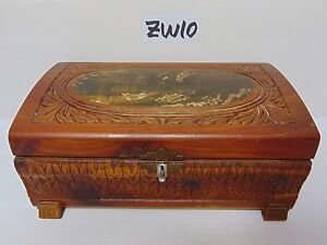 Vintage Ornate Wood Small Wood Cedar Box Misc Jewelry Box Trinket Old