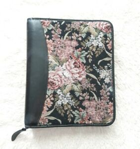 Franklin Quest Tapestry Floral Leather Planner vintage 90s Zip Large Binder