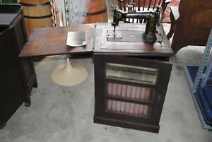 Antique Wheeler Wilson W9 Library Bookcase Treadle Sewing Machine