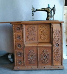 Antique Singer Model 27 Treadle Sewing Machine In Ornate Drawing Room Cabinet