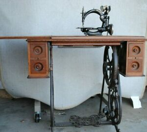 Antique New Home Cross Stitch Treadle Sewing Machine Willcox Gibbs Base