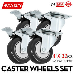 32 Pack 4 Inch Swivel Plate Casters W 16 Brakes Zinc Plating Pu Dollies
