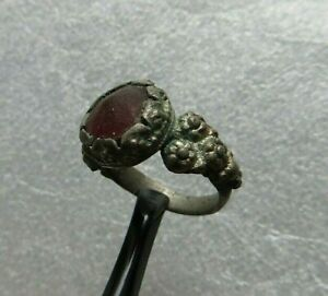 Nice Ancient Roman Silver Ring Wit Red Glass Detector Find