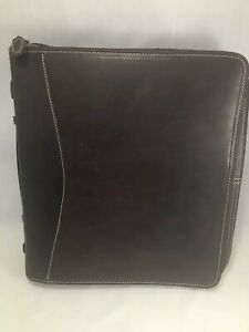 Franklin Covey Monarch 1 75 Rings Brown Leather Zip Planner Binder