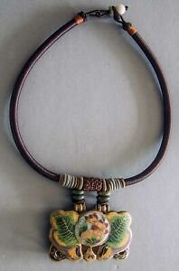Chinese Handmade Beautiful Necklace With Vintage Antique Enamel Buckle