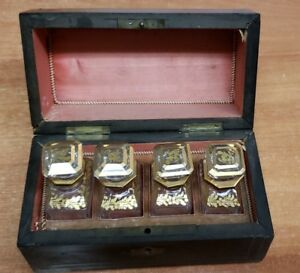 1800 S French Boulle Casket With Four Baccarat Perfume Scent Bottles