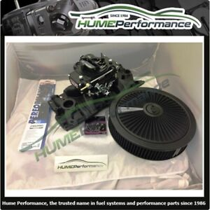 Small Block Chev Sbc 283 400 Manifold Carburettor Package Black Quickfuel