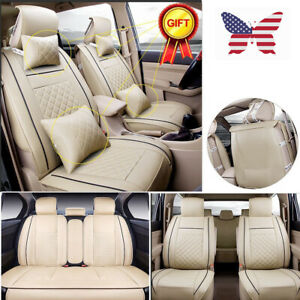 Us Full 5 seat Set Car Seat Covers Pu Leather Front Rear Protector W pillows