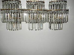 C1930 Hollywood Regency 3 Tiered Crystal Prisms Bronze Sconces Pair Vintage