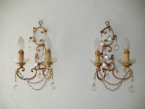 C 1930 French Gilt Wood Tole Clear Murano Drops Sconces