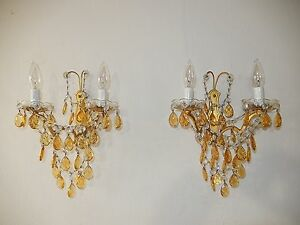 C 1920 Vintage French Crystal Swags Yellow Prisms Elegant Sconces