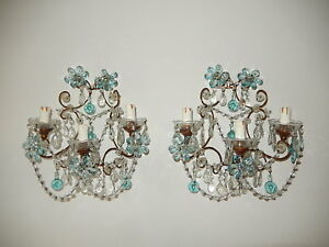 C 1920 French Maison Bagues Aqua Flower Balls Style Prisms Sconces