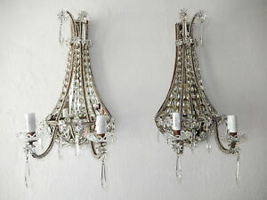 C 1900 French Big Crystal Beaded Stars Prisms Mirrors Sconces Rare