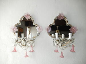 C 1920 Huge Maison Bagues Style Pink Murano Mirrors Flower Swags Sconces