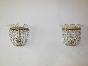 C 1920 Baccarat Style French Crystal Prisms Bronze Sconces Empire Beautiful