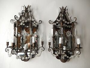 C 1900 French Mirror Sconces Crystal Spear And Stars