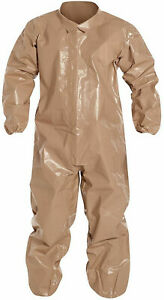 6 Lot Dupont Disposable Coveralls With Elastic Cuff Tan 3xl Tychem 5000 Cpf 3