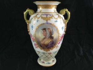 Antique Large German Porcelain Vase Hand Painted Portreat On The Front Gilded
