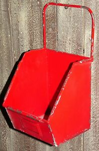Red Industrial Metal Bin Primitive Vintage Antique Reproduction Country Style