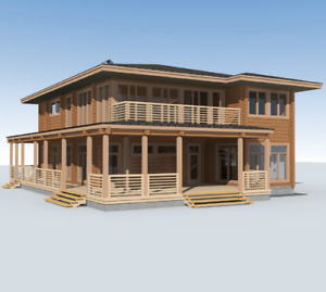 Laminated Log House Eco Kit Prefab Diy Building Home Cabin Kit 4410 Sq Ft