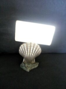 Vintage Art Deco Stand Holder Business Card Of Stone And Metal Mussel Silverplat