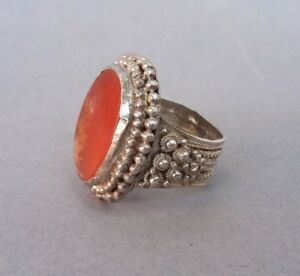 Antique Silver Carnelian Ring Ottoman 19th Century Handmade