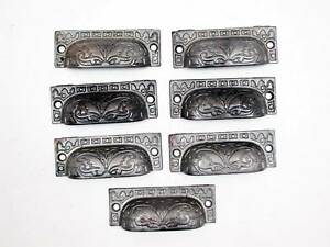7 Matching Victorian Era Antique Bin Pulls Or Drawer Pulls In Ornate Cast Iron