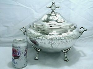 1880 Victorian Gothic Eastlake Chased Meriden B Company Soup Tureen 70 Oz 2 Lt