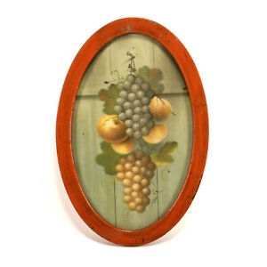 Antique Tin Oval Wall Picture Frame Fruit Still Life 9 X 12 C1920