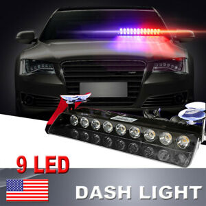 Police Warning Grill Car Light 9 Led Red Blue White Strobe Emergency Flashing Le