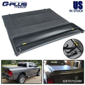 Black 5 7 Bed Soft Four Fold Tonneau Cover For 2009 2018 Dodge Ram 1500 2017