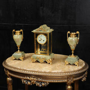 Antique French Four Glass Crystal Regulator Clock Set In Onyx And Ormolu C1890