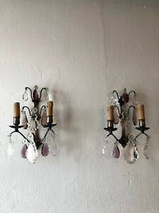 C 1920 French Maison Bagues Style Set Of 6 Rare Amethyst Sconces