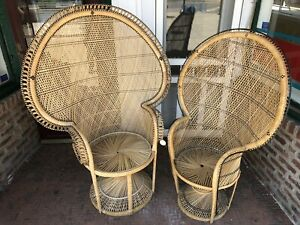 Vintage Mid Century Peacock Chair Throne Wicker Rattan Wicker Fan Back Cobra Mcm