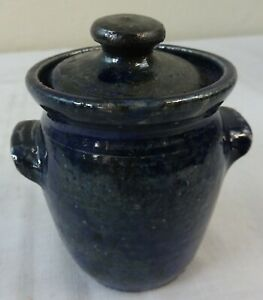 Antique Miniature Blue Stoneware Crock With Lid Prob N C