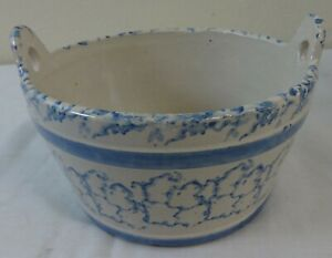 Antique Stoneware Salt Glaze Butter Tub Blue Sponge Decorated Minor Glazing