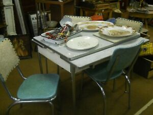 Mid Century Modern Deco Blue And Cream Chrome Table And Chairs