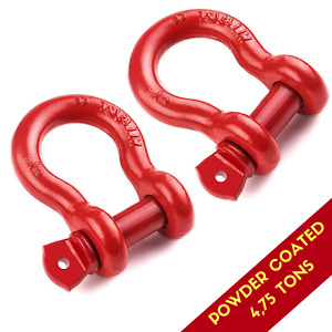 Red D Ring Shackle 3 4 Inch Towing Hook Bow 4 75 Ton For Hitch Jeep Atv Truck Rv