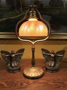 Tiffany Studios Bronze Base Favrile Damascene Handel Quezal Steuben Era Lamp