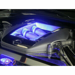 Engine Shroud Cover W white Led 4p For 2009 2010 Nissan Gt r stainless Steel