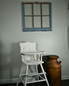 Vintage Wooden High Chair White Farmhouse Shabby Chic Cottage Baby Birthday