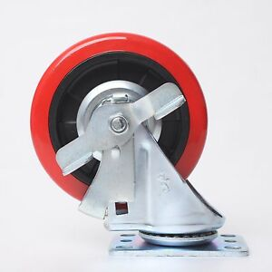 2pcs 5 5 inch Swivel Caster Red Polyurethane Wheel With Safety Lock Bearing