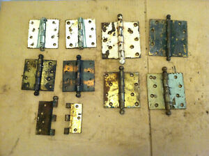 Mixed Lot 8 Brass Cannonball Other Door Hinges Hardware Architectural Salvage