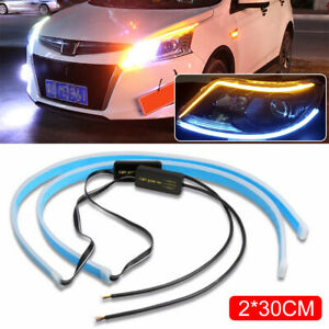 30cm White Amber Switchback Car Flexible Led Strip Light Drl Flowing Turn Signal