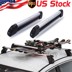 Unliversal Car Top Roof Rack Ski Carriers Mount For 4 Snowboard Or 6 Pair Skis